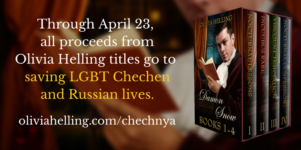 Through April 23, all proceeds from Olivia Helling titles will go towards saving LGBT Chechen and Russian lives.